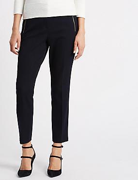 Slim Leg Jacquard Trousers, BLACK MIX, catlanding