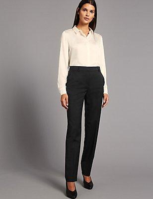 Pantalon en laine mélangée coupe droite, NOIR, catlanding