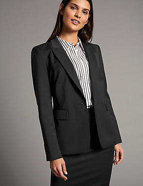 Wool Blend Longline Single Breasted Blazer, BLACK, catlanding