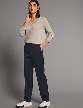 Wool Blend Straight Leg Trousers, NAVY, catlanding