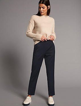 Wool Blend Cropped Trousers, NAVY, catlanding