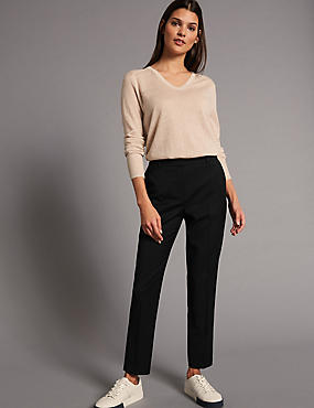 Wool Blend Cropped Trousers, BLACK, catlanding
