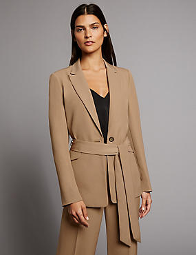 Twill Tailored Jacket with Belt, DARK CAMEL, catlanding