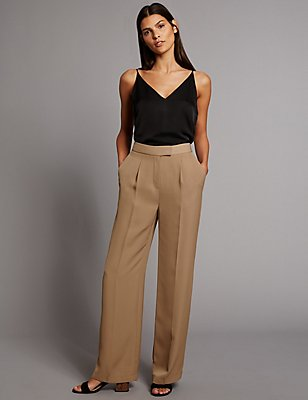 Twill Pleated Wide Leg Trousers, DARK CAMEL, catlanding