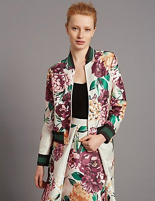Floral Print Bomber Jacket, CREAM MIX, catlanding
