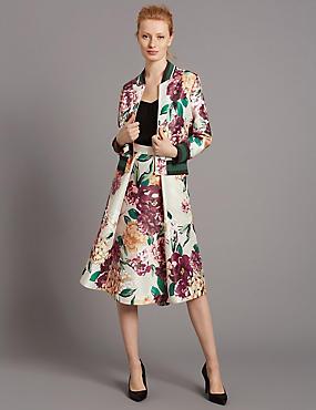 Floral Print Skirt, CREAM MIX, catlanding