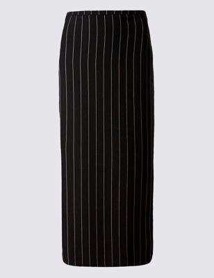 Длинная прямая юбка в полоску