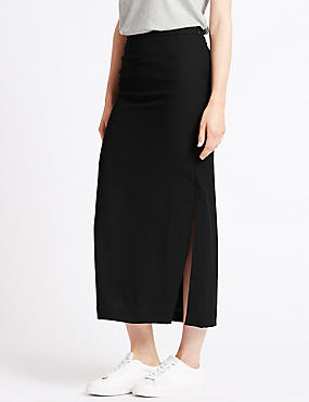 Side Split Straight Skirt, BLACK MIX, catlanding