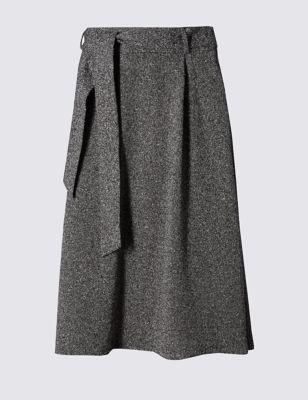 Расклешённая юбка-миди с поясом