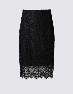 Кружевная юбка-миди с высокой посадкой M&S Collection T593650