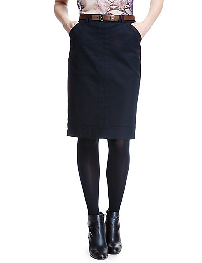Cotton Rich Panelled Pencil Skirt with Belt | M&S