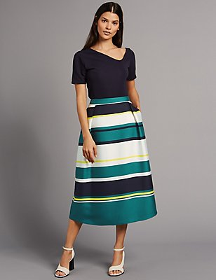 Wide Stripe A-Line Midi Skirt, NAVY MIX, catlanding