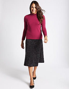 Spotted Flock A-Line Midi Skirt, BLACK MIX, catlanding