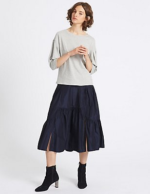 Cut About A-Line Midi Skirt, NAVY, catlanding