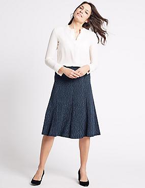 Geometric Print A-Line Skirt, NAVY MIX, catlanding