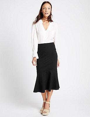 Peplum Hem A-Line Midi Skirt, BLACK, catlanding