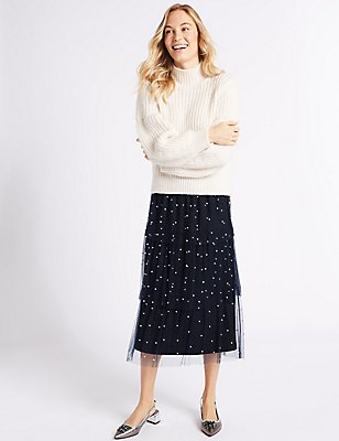 Tiered Mesh Pearl A-Line Midi Skirt, NAVY, catlanding