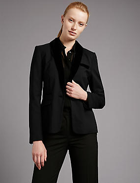 Long Sleeve Shrunken Jacket with Wool, BLACK, catlanding