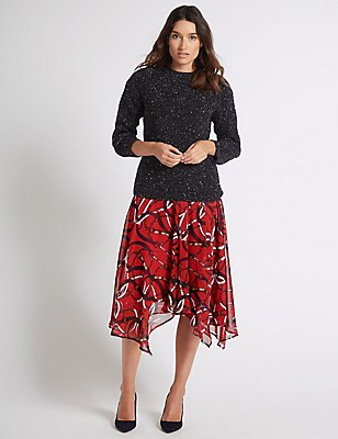 Chain Print Chiffon A-Line Midi Skirt, RED MIX, catlanding