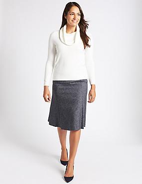 Textured A-Line Midi Skirt, NAVY, catlanding
