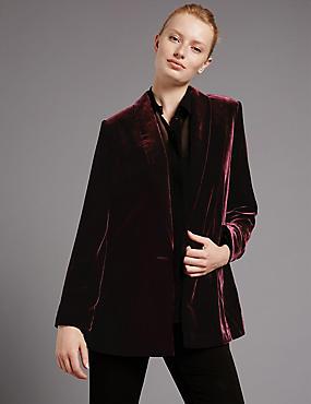 Velvet Long Sleeve Blazer, BORDEAUX, catlanding