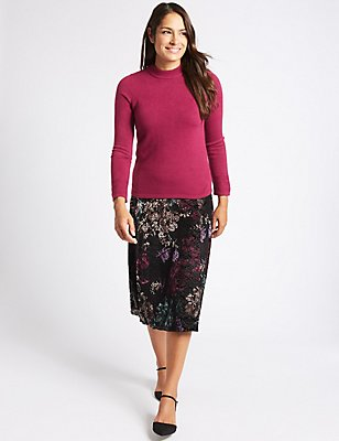 Floral Print Devore A-Line Midi Skirt, BLACK MIX, catlanding
