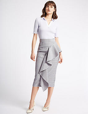 Ruffle Checked Pencil Midi Skirt, LILAC MIX, catlanding