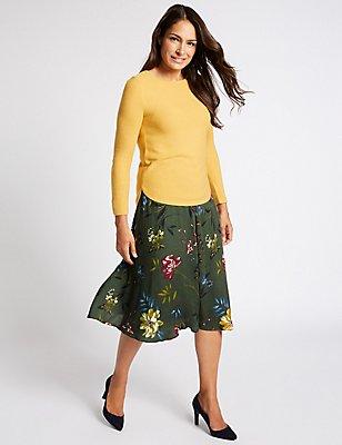 Floral Print A-Line Midi Skirt, KHAKI MIX, catlanding