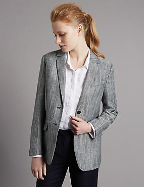 Textured Single Breasted Blazer, INDIGO, catlanding