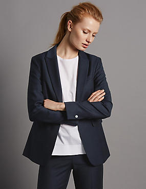 Panel Pocket Suit Jacket with New Wool, NAVY, catlanding