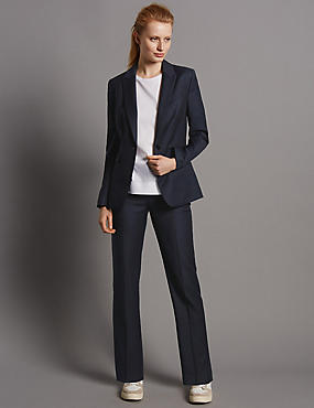 Straight Leg Trousers with New Wool, NAVY, catlanding
