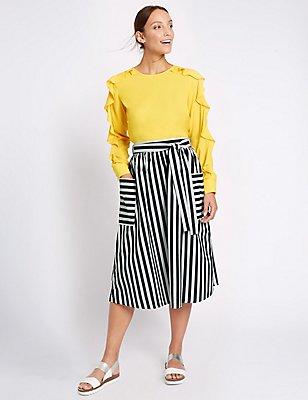 Pure Cotton Striped Tie Waist Midi Skirt, NAVY MIX, catlanding