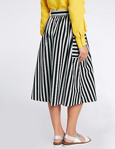 Pure Cotton Striped Tie Waist Midi Skirt | M&S