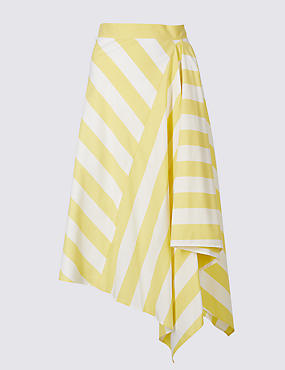 Cotton Rich Striped Asymmetric Midi Skirt, YELLOW MIX, catlanding