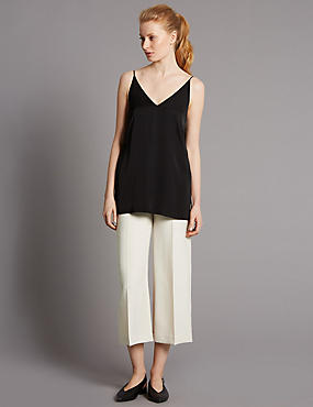 Cropped Wide Leg Trousers, OYSTER, catlanding