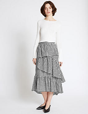 Cotton Rich Gingham Ruffle Midi Skirt, BLACK MIX, catlanding