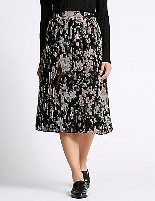 Floral Print Pleated Skirt, BLACK MIX, catlanding