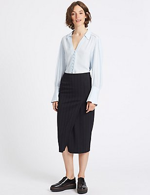 Pinstripe A-Line Midi Skirt, NAVY MIX, catlanding