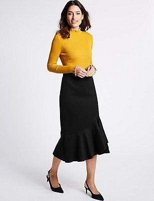 Textured Ruffle A-Line Midi Skirt, BLACK, catlanding