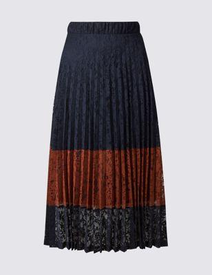 Кружевная плиссированная юбка-миди M&S Collection T594018