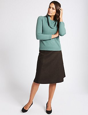 Wool Blend Herringbone A-Line Midi Skirt, DARK BROWN MIX, catlanding