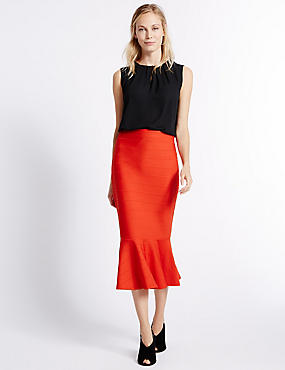 Fluted Bodycon Midi Skirt, RED, catlanding