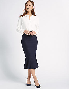 Fluted Bodycon Midi Skirt, NAVY, catlanding
