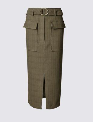 Юбка прямая с поясом и большими накладными карманами M&S Collection T594020