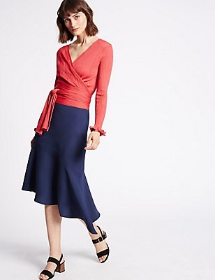 Bias Cut Asymmetrical Midi Skirt, NAVY, catlanding