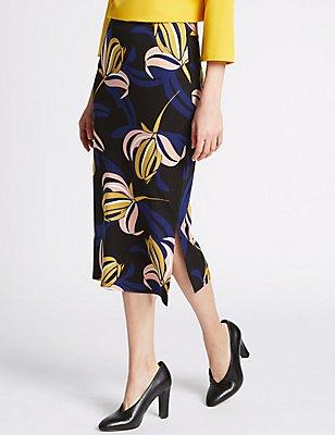 Floral Print Bodycon Skirt, YELLOW MIX, catlanding