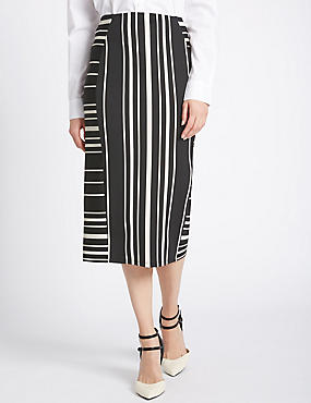 Striped Bodycon Skirt, WHITE MIX, catlanding