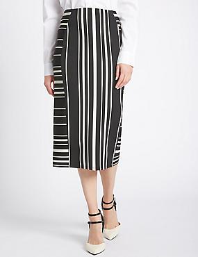 Striped Bodycon Skirt, WHITE MIX, catlanding