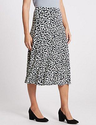 Spotted Print Jersey A-Line Skirt , BLUE MIX, catlanding