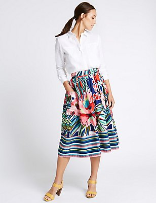 Pure Cotton Printed Tie Waist Midi Skirt, PINK MIX, catlanding